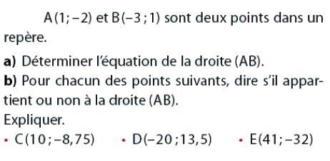 Déterminer l'équation de la droite : exercices en 2de.
