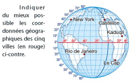 Coordonnées géographiques des villes : exercices en 2de.