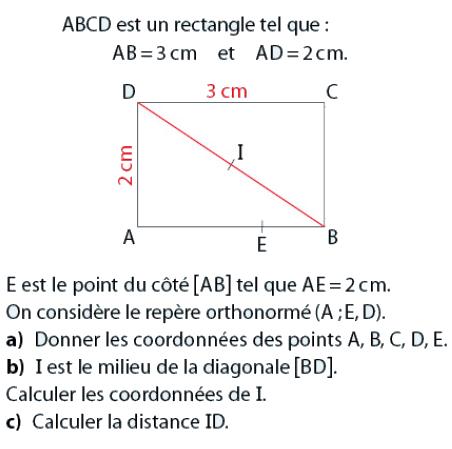 Rectangle et coordonnées du milieu : exercices en 2de.