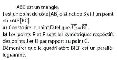 Démontrer qu'un quadrilatère est un parallélogramme : exercices en 2de.
