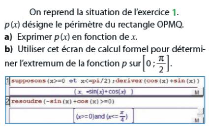 Périmètre du rectangle et calcul formel : exercices en terminale S.