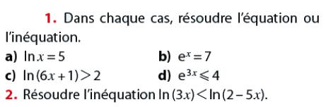 Résoudre l'équation ou l'inéquation : exercices en terminale S.