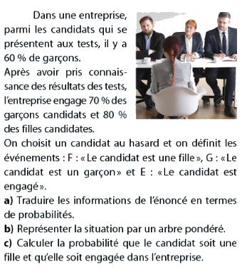 Probabilités et test danss une entreprise : exercices en terminale S.