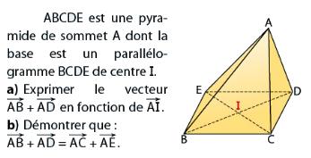 Pyramide de sommet A et vecteurs : exercices en terminale S.