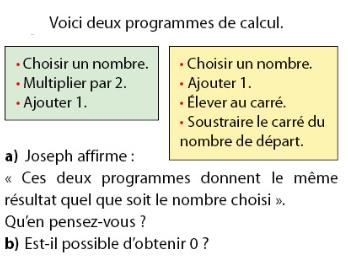 Deux programmes de calcul et une affirmation : exercices en 2de.