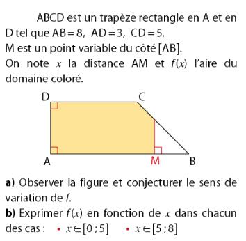 Problème d'un trapèze et fonctions : exercices en 2de.