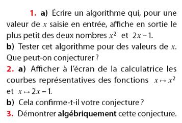 Algorithme et calculatrice : exercices en 2de.