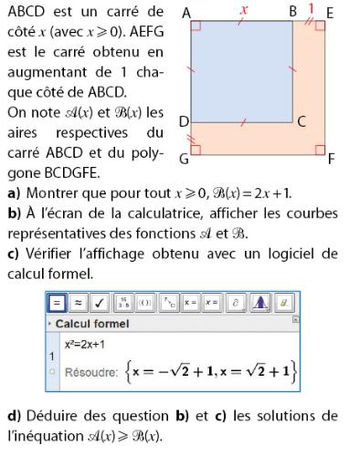 Problème sur les fonctions et inéquations : exercices en 2de.