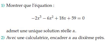 Une équation qui admet une unique solution : exercices en terminale S.