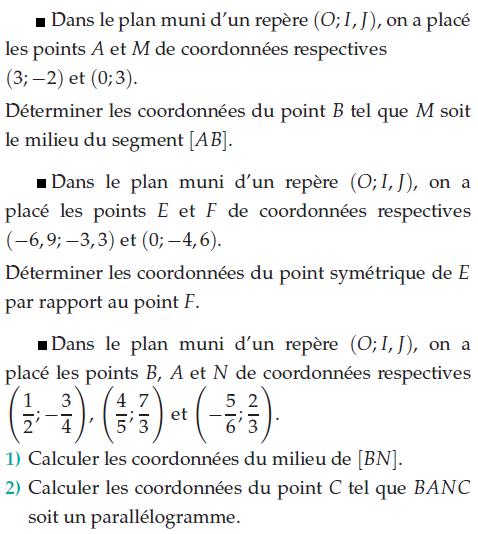 Coordonnées du milieu et parallélogramme : exercices en 2de.