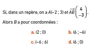 Calculer les coordonnées d'un point : exercices en 2de.