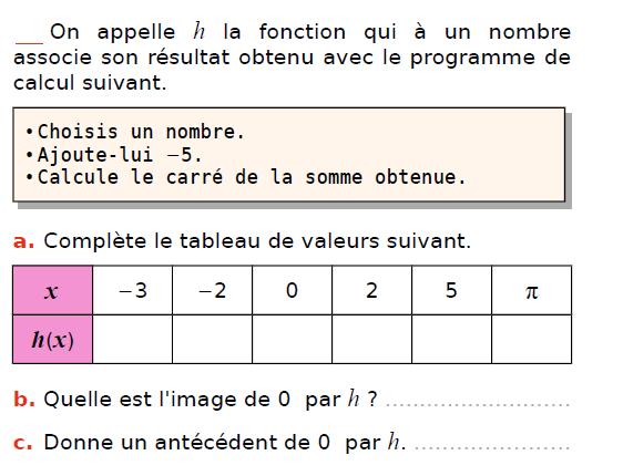 Fonction et programme de calcul : exercices en 3ème.