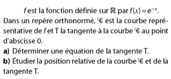 Position relative de la tangente à une courbe : exercices en terminale S.