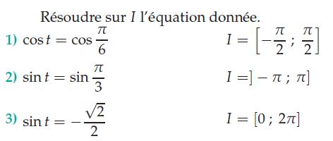 Résoudre sur I l'équation donnée : exercices en terminale S.