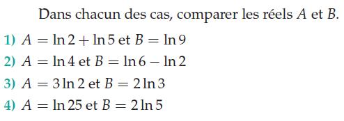 Comparer les réels A et B : exercices en terminale S.