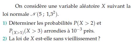 Déterminer les probabilités P(X></noscript>2) et la loi sans vieillissement : exercices en terminale S.