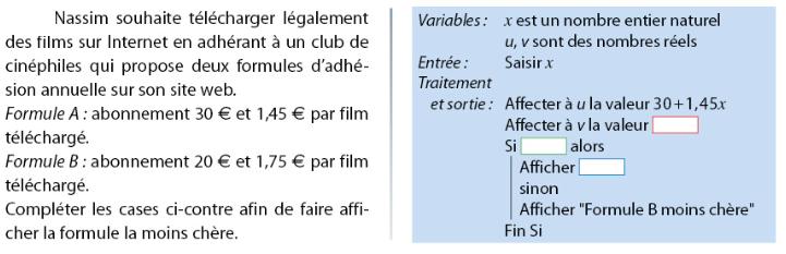 Algorithme et formule d'abonnement à un club : exercices en 2de.