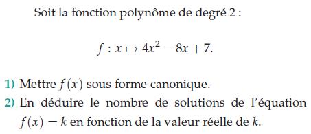 Fonction polynôme et forme canonique : exercices en terminale S.