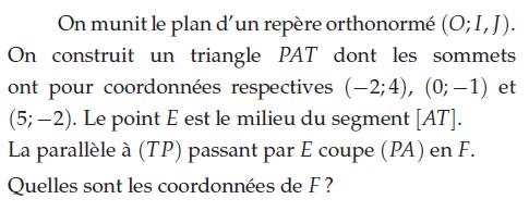 Coordonnées d'un point et sommets de triangle : exercices en 2de.