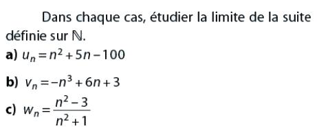 L'étude de la limite de la suite : exercices en terminale S.