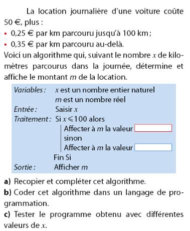 Location d'une voiture et programmer un algorithme : exercices en 2de.