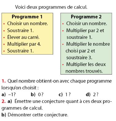 Conjecture et programmes de calcul : exercices en 2de.