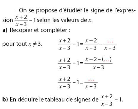 Tableau et étudier le signe de l'expression : exercices en 2de.