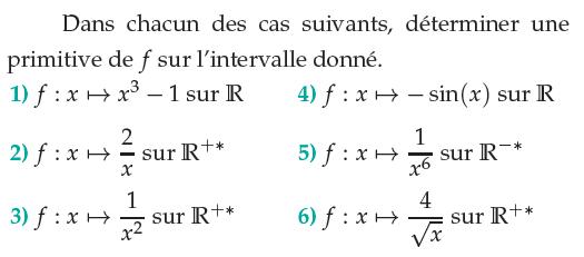 Déterminer la primitive d'une fonction f : exercices en terminale S.