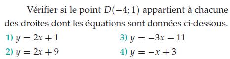 Vérifier qu'un point appartient à une droite : exercices en 2de.