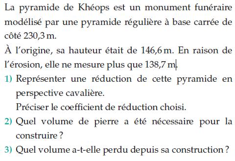 Réduction de la pyramide de Khéops : exercices en 2de.