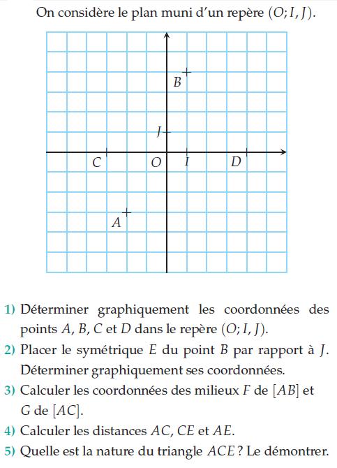 Placer les symétriques et coordonnées : exercices en 2de.