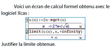 Calcul formel Avec Xcas et limite obtenue : exercices en terminale S.