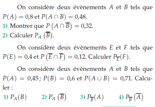 Deux événements A et B et leur contraire : exercices en terminale S.