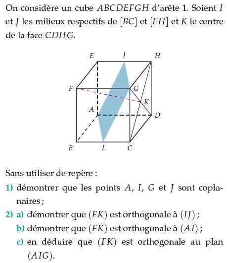 Démontrer que les points A, I, G et J sont coplanaires : exercices en terminale S.