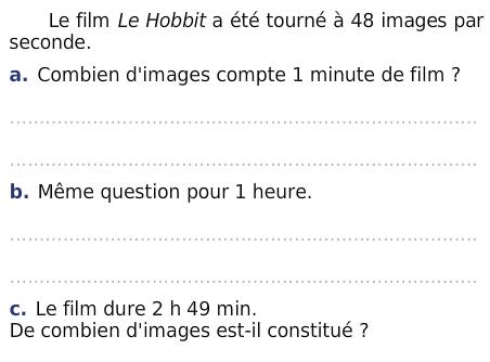 Le film le Hobbit : exercices en 6ème.