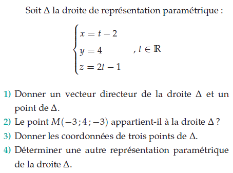 Donner les coordonnées de trois points : exercices en terminale S.