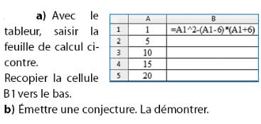 Tableur et conjecture d'une équation : exercices en 2de.