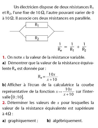 Résitance équivalente et fonction inverse : exercices en 2de.
