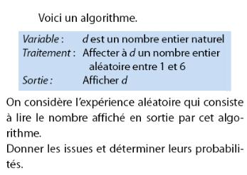 Algorithme avec expérience aléatoire : exercices en 2de.