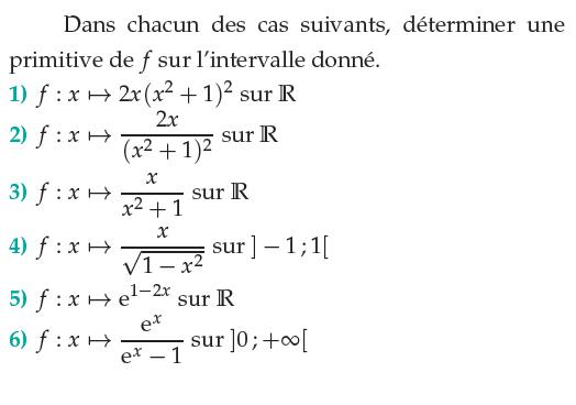 Calculer la primitive de ces fonctions : exercices en terminale S.