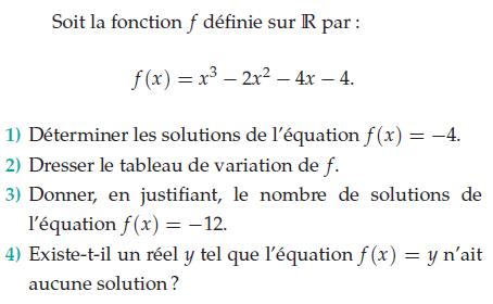 Dresser le tableau de variation et solutions de l'équation : exercices en terminale S.