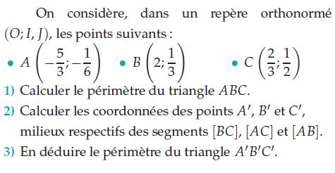 Périmètre d'un triangle et coordonnées : exercices en 2de.