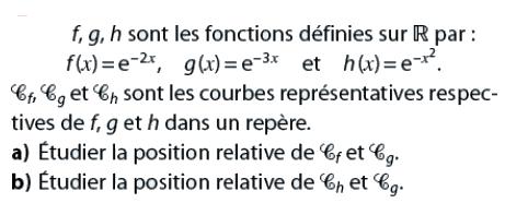 Position relative de courbes et étude : exercices en terminale S.