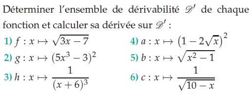 Déterminer l'ensemble de dérivabilité : exercices en terminale S.