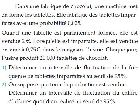 Une fabrique de chocolat et une machine à tablettes : exercices en terminale S.