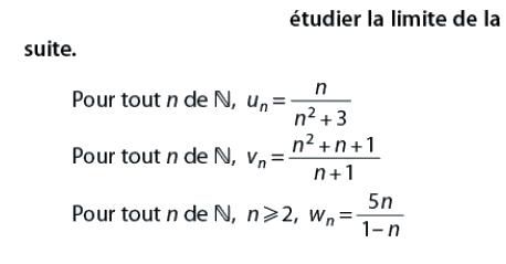 Dans chaque cas, étudier la limite de la suite : exercices en terminale S.