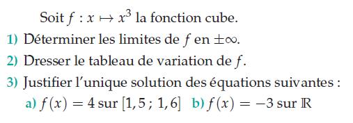 Fonction cube et calculs de limites : exercices en terminale S.