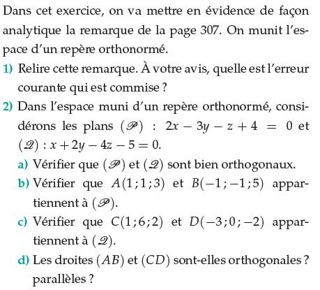 Plans orthogonaux dans un repère orthonormé : exercices en terminale S.