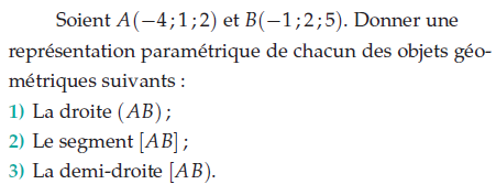 Donner une représentation paramétrique de chacun des objets : exercices en terminale S.