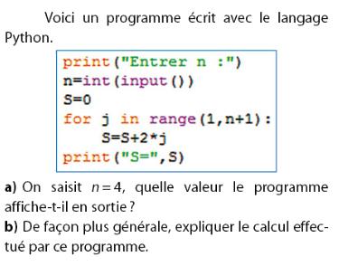Un programme écrit avec le langage Python : exercices en 2de.